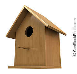3d render of wooden birdhouse isolated on white background