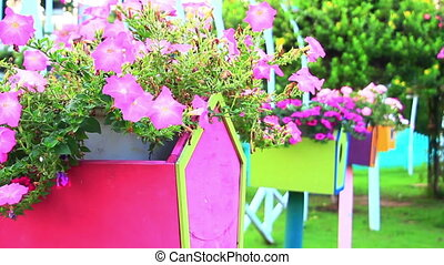 birdhouse and blossoming flowers in spring garden