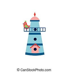Birdhouse cartoon icon with small spring bird flat vector illustration isolated.