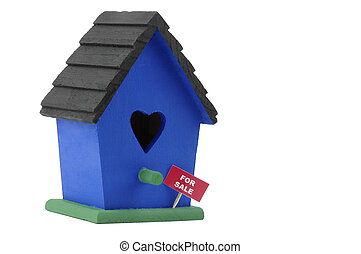 Birdhouse with a for sale sign on a white background,