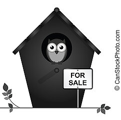 Birdhouse for sale - Monochrome birdhouse for sale isolated...