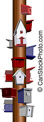 Birdhouse hotel - Colorful 3D red, white, and blue...