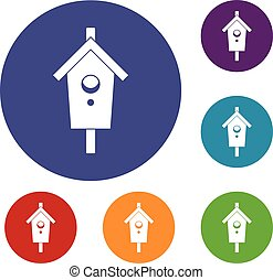 Birdhouse icons set