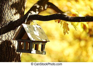 birdhouse in the autumn forest - birdhouse in the autumn...