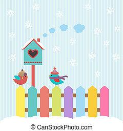 birdhouse, inverno, fundo, pássaros