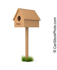Birdhouse isolated on white. May be inhabited by birds. Made...