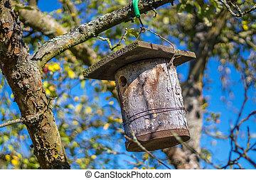 birdhouse, jablko sad, strom, oběšení