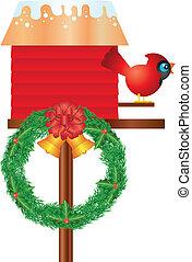 birdhouse, kranz, kardinal, weihnachten, abbildung