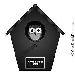 Birdhouse - Monochrome birdhouse isolated on white ...
