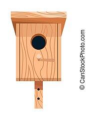 birdhouse, nesting, ou, isolado, madeira, ícone, caixa,...