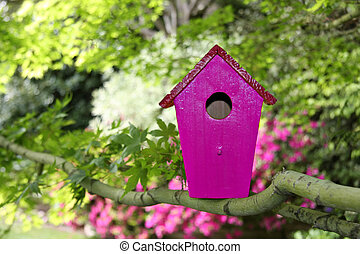 Birdhouse outside in the garden in spring.