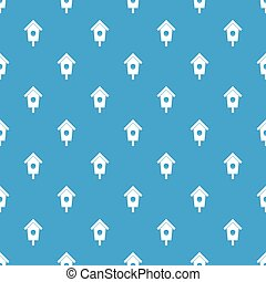 Birdhouse pattern seamless blue