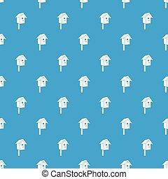 Birdhouse pattern vector seamless blue