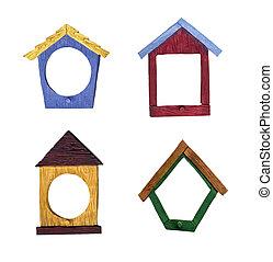 Birdhouse Shaped Wood Grain Frames