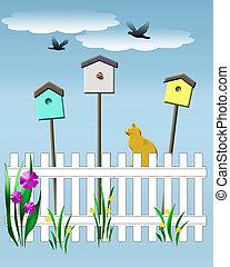 birdhouse vigil - yellow cat watching baby birds...