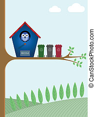 Birdhouse with recycling bins awaiting collection
