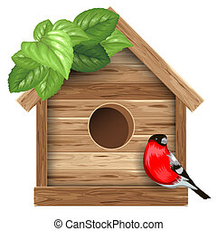 Birdhouse - Wooden birdhouse with bird bullfinch and leaves