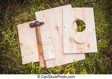 birdhouse, zubehörteil, mit, hammer