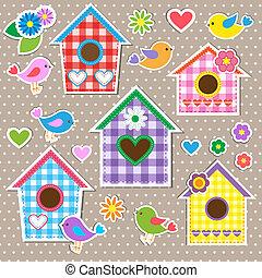Birdhouses, birds and flowers
