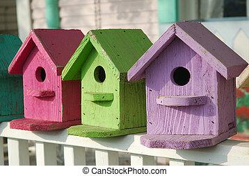 birdhouses, coloré