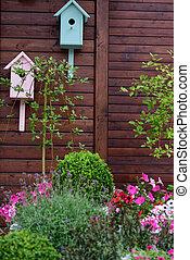 Birdhouses in a garden