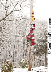 Birdhouses in Winter - Bright red birdhouses decorate a pole...