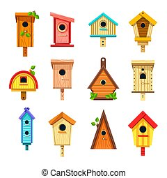 Birdhouses isolated icons, nesting boxes or tree buildings...