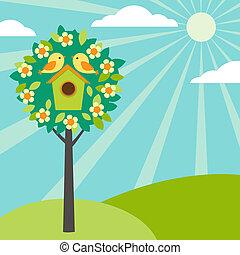birdhouses, ligado, árvores