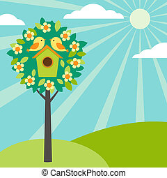 birdhouses, na, drzewa