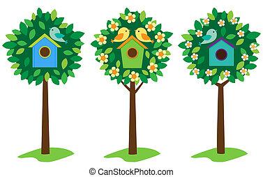birdhouses, op, bomen
