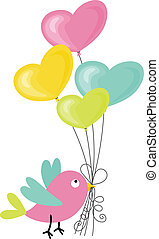 Scalable vectorial image representing a birdie holding a heart-shaped balloons, isolated on white.