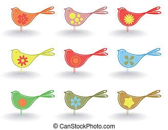 Set of small cheerful birdies. A vector illustration
