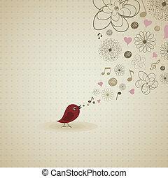 The bird sings a song. A vector illustration