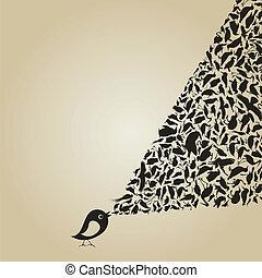 Birdie sings2 - The bird sings animals. A vector...