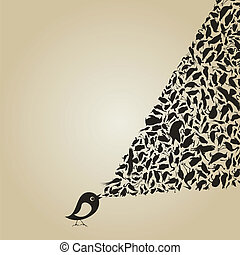 The bird sings animals. A vector illustration
