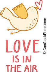 Birdie with a heart Valentine illustration