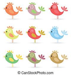 Birdie2 - Set of small cheerful birdies. A vector...