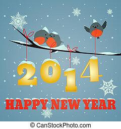 Birdies Happy new year 2014 - Little birdies on branch and...