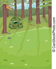 Birding Hide Outdoors Illustration