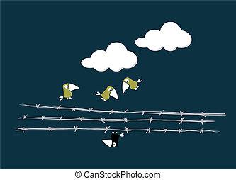 birds, над, провод