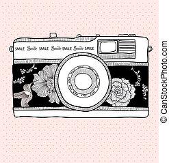 birds., カメラ。, 写真, pattern., ベクトル, レトロ, 背景, 花, 花, カメラ, ...