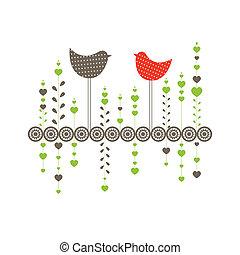 birds., ベクトル, 背景, イラスト