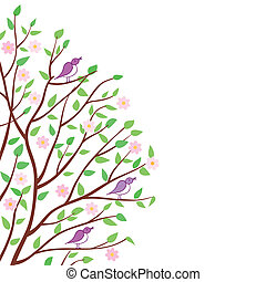 birds., 春の花, 木