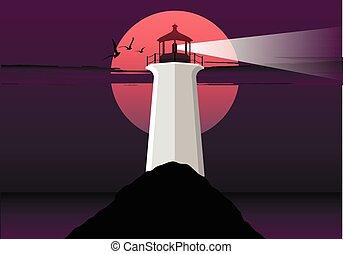 birds., 灯台, イラスト, 月, ベクトル, sea., 背景, night.