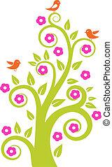 birds., abstratos, vetorial, árvore, ilustração