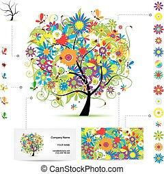 birds., affaires drôles, arbre, infographic, template., carte