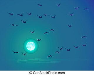 Birds against pale moon.