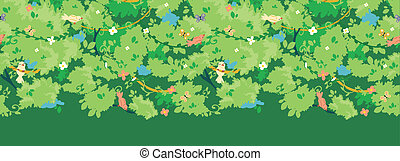 Birds among branches horizontal seamless pattern border -...