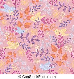 Birds among flowers seamless pattern background