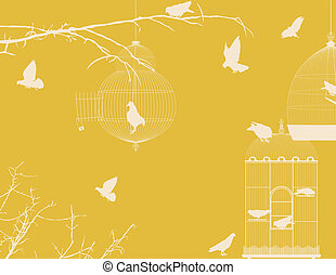 Birds and birdcages postcard 7